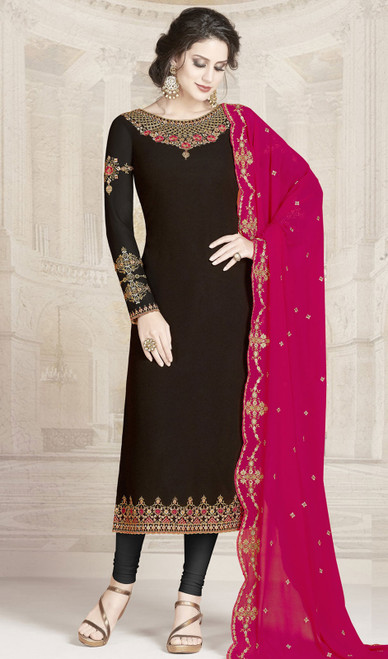 Black Color Georgette Embroidered Churidar Suit