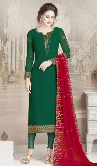 Green Color Embroidered Georgette Churidar Dress