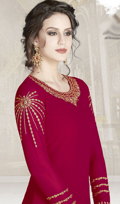 Red Color Goergette Embroidered Churidar Kameez
