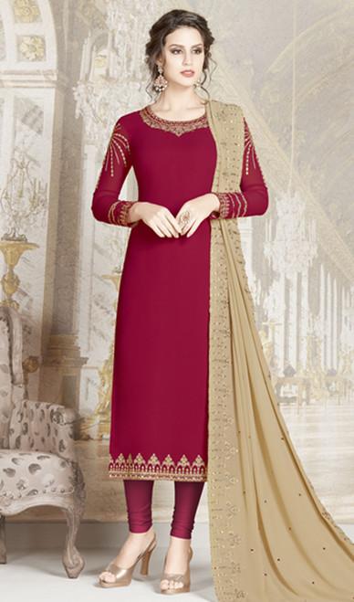 Red Color Goergette Embroidered Churidar Kameez