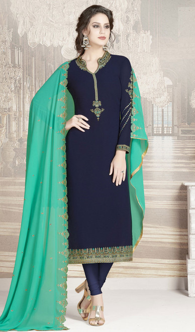 Navy Blue Color Shaded Georgette Churidar Suit