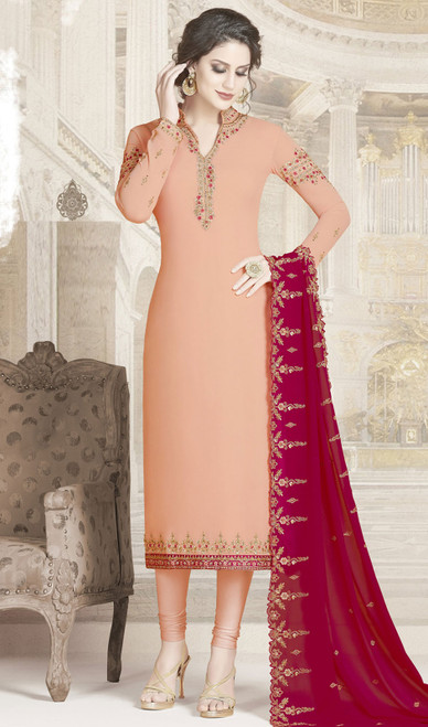 Peach Color Embroidered Georgette Churidar Dress