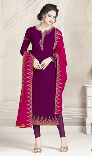 Purple Color Georgette Embroidered Churidar Kameez