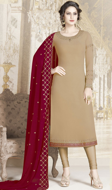 Churidar Kameez in Beige Color Embroidered Georgette