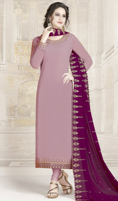Churidar Suit, Georgette Fabric in Pink Color Shaded
