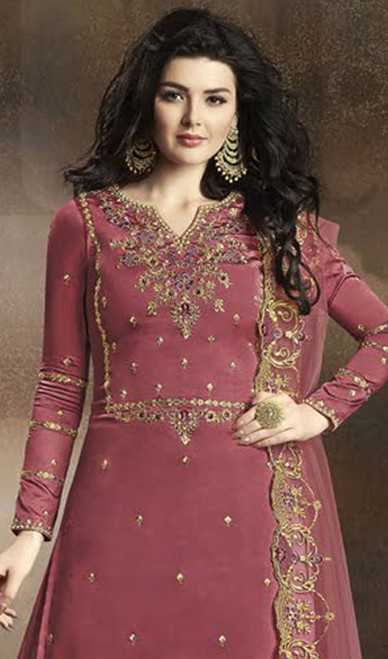 Pink Color Silk Embroidered Palazzo Dress