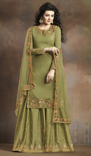 Green Color Embroidered Silk Palazzo Suit