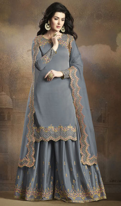 Gray Color Silk Embroidered Palazzo Suit