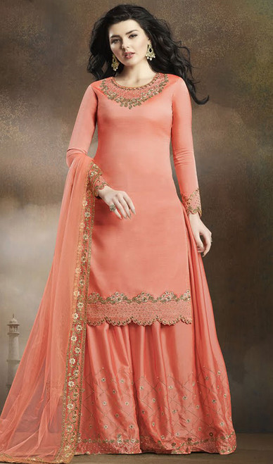 Peach Color Embroidered Silk Palazzo Suit