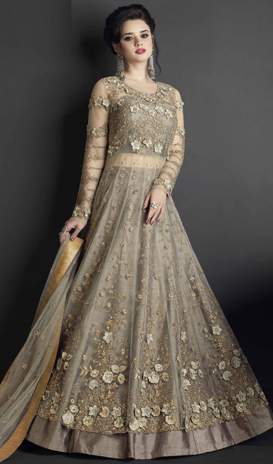 Gray Color Embroidered Silk Anarkali Suit