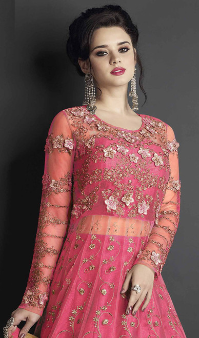 Red Color Silk Embroidered Anarkali Suit