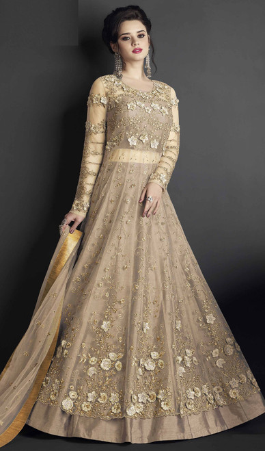 Brown Color Embroidered Silk Anarkali Dress