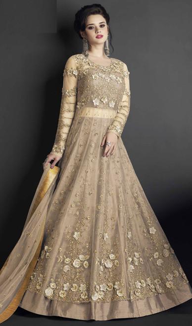 Brown Color Embroidered Silk Anarkali Dress