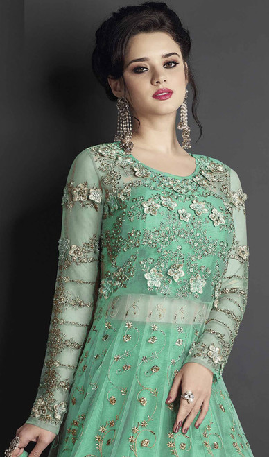 Rama Color Shaded Silk Embroidered Anarkali Suit