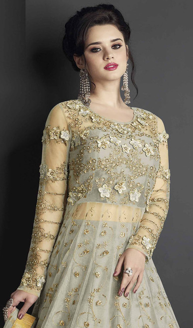 Light Green Color Shaded Silk Anarkali Dress