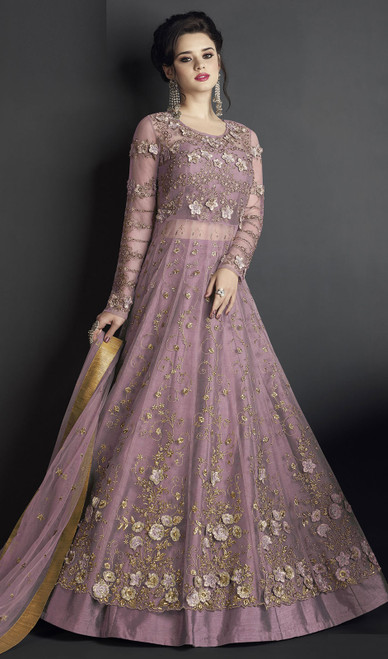 Anarkali Suit, Silk Fabric in Pink Color Shaded