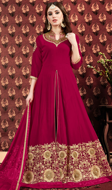 Pink Color Embroidered Georgette Long Suit