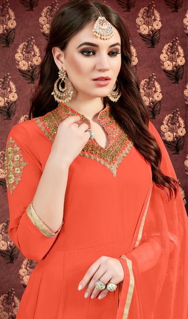 Orange Color Georgette Embroidered Long Dress