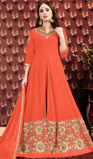 Orange Color Georgette Embroidered Long Dress
