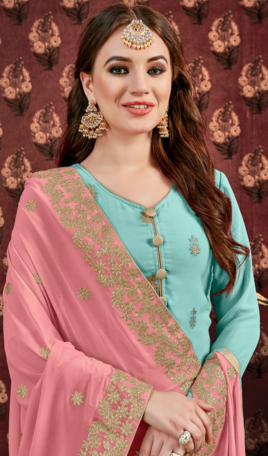 Turquoise Color Embroidered Georgette Designer Suit