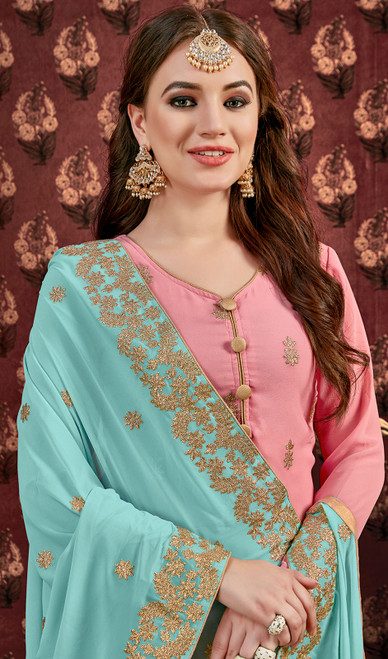 Designer Suit in Pink Color Embroidered Georgette