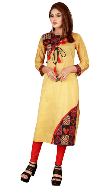 Yellow Color Shaded Silk Tunic