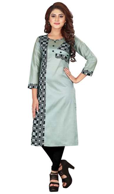 Gray and Blue Color Shaded Silk Tunic