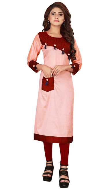 Pink and Maroon Color Shaded Silk Tunic