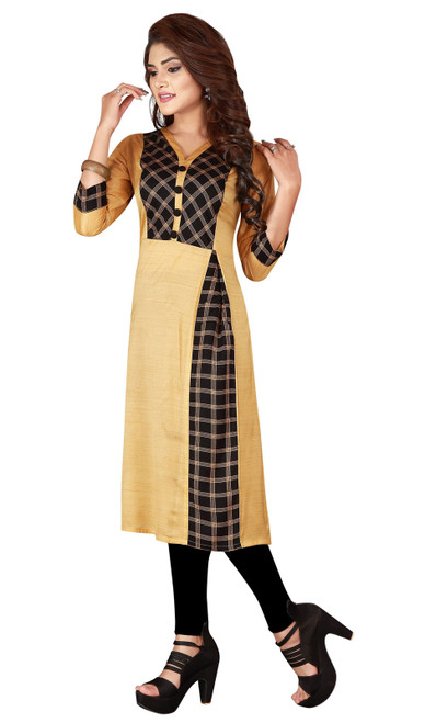 Beige and Black Color Shaded Silk Tunic