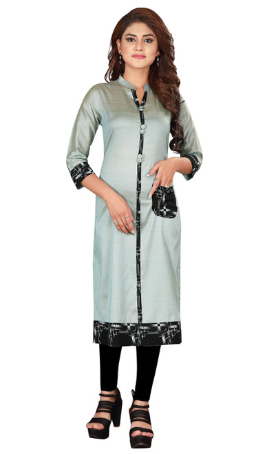 Gray Color Shaded Silk Kurti