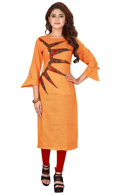 Orange Color Shaded Silk Kurti