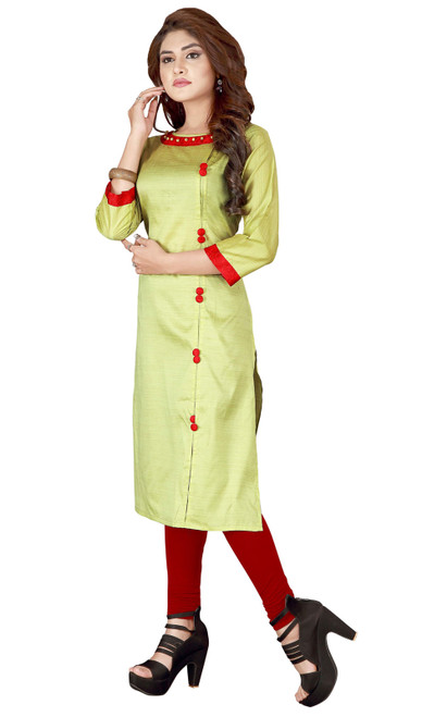 Light Green Color Silk Embroidered Tunic