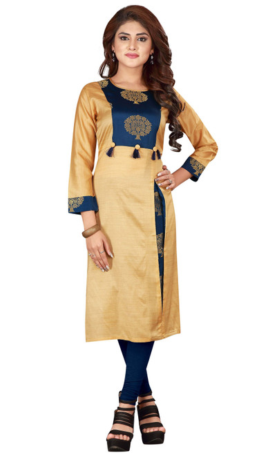 Tunic in Beige and Blue Color Shaded Silk