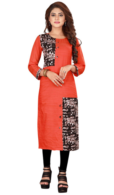 Red Color Shaded Silk Tunic