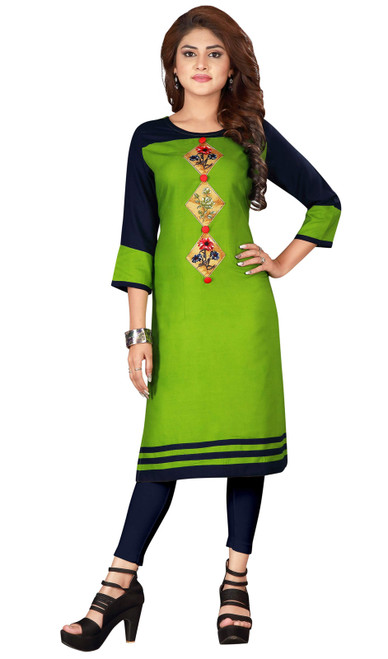Green and Blue Color Rayon Tunic