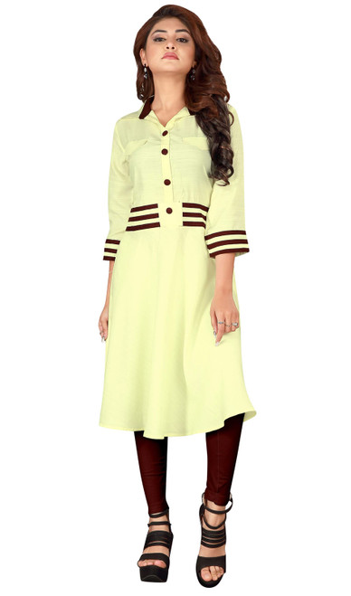 Tunic, Rayon Fabric in Yellow Color Shade