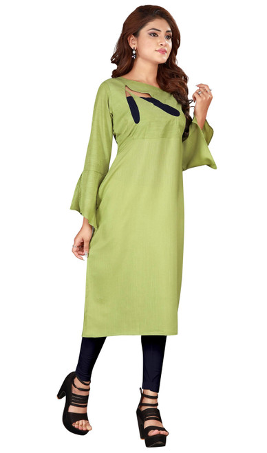 Green Color Embroidered Resham Silk Tunic