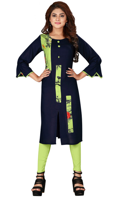 Navy Blue and Green Color Shaded Rayon Tunic