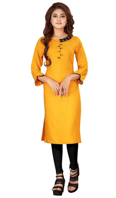 Yellow Color Shaded Rayon Tunic