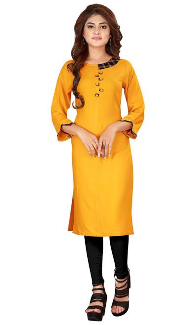 Yellow Color Shaded Rayon Tunic