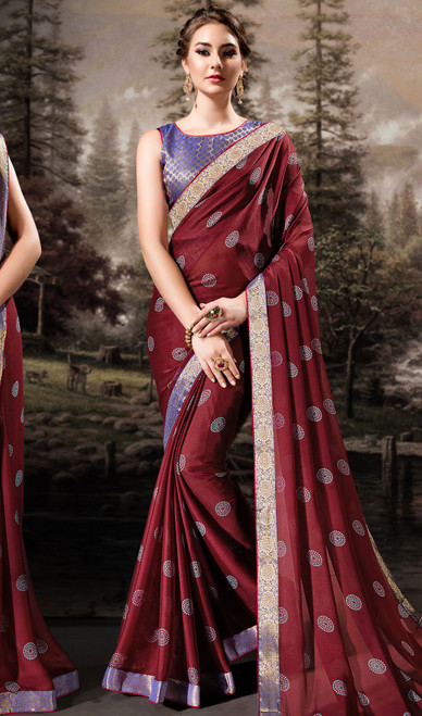 Maroon Color Shaded Chiffon Printed Sari