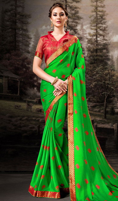Chiffon Printed Green Color Shaded Sari