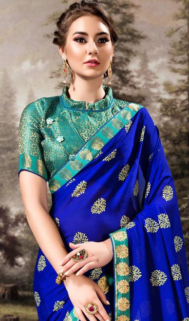 Royal Blue Color Shaded Chiffon Printed Sari