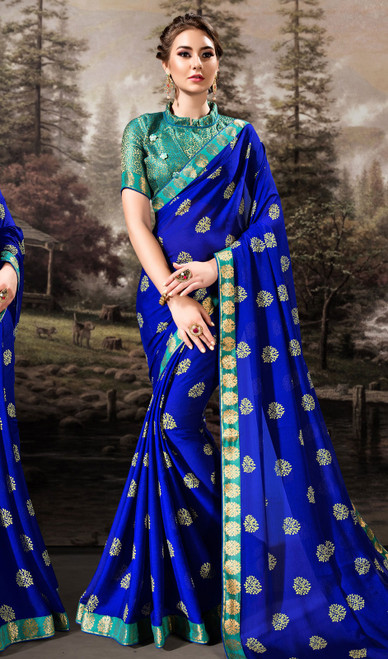 Royal Blue Color Shaded Chiffon Printed Sari
