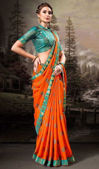 Orange Color Chiffon Printed Sari
