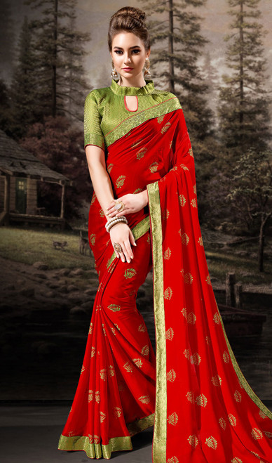 Red Color Shaded Chiffon Printed Sari