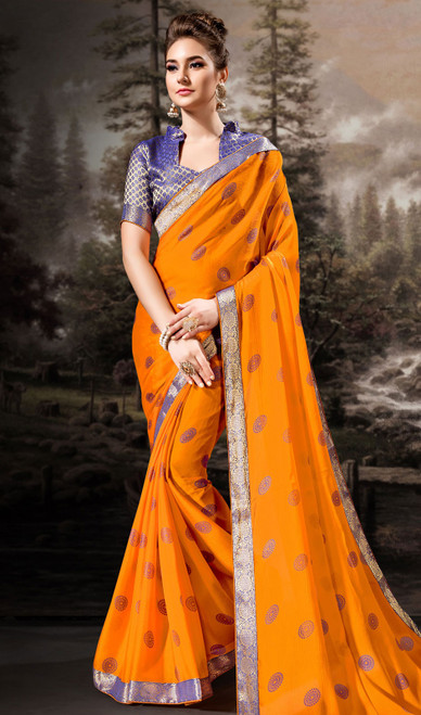 Chiffon Yellow Color Shaded  Printed Sari