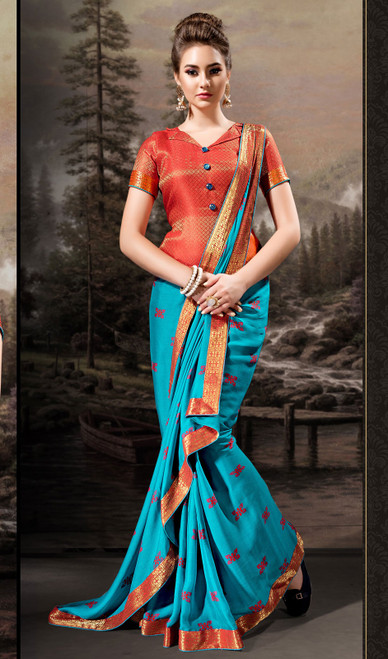 Chiffon Sky Blue Color Shaded Printed Sari