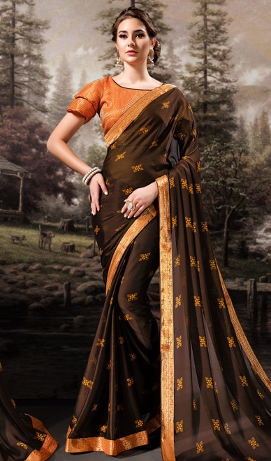 Brown Color Shaded Chiffon Printed Sari