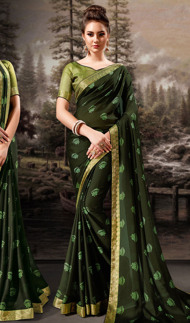 Chiffon Green Color Shaded Printed Sari